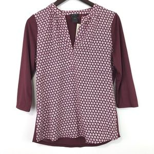 Ann Taylor Factory Printed 3/4 Sleeve Popover Top